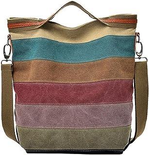 QUICKLYLY Bolso Mujer Bandolera Portatil Bolsa Mensajero Tote Shopper Callejero Bag Multifunción Tirantes,Raya Empalme Lona Casual Bandolera Hombro Totes(Multicolor)