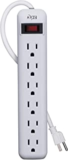 KMC 6-Outlet Power Strip, Overload Protection, 3-Foot Cord, White