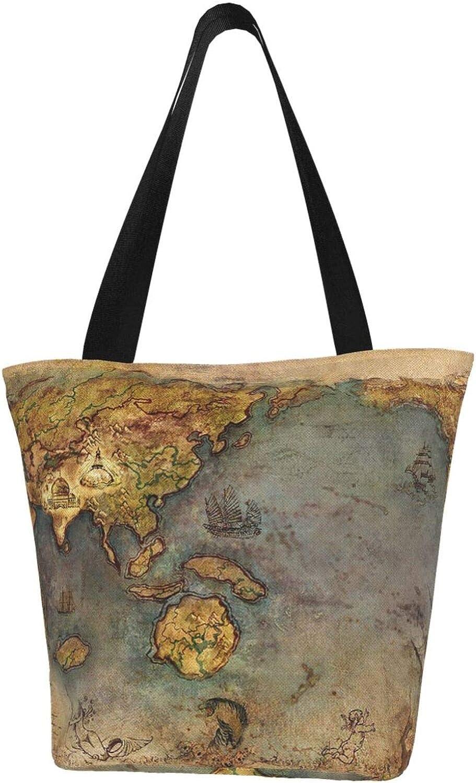 Old Map Retro Ocean Sailing Themed Printed Women Canvas Handbag Zipper Shoulder Bag Work Booksbag Tote Purse Leisure Hobo Bag For Shopping