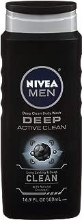 NIVEA Men DEEP Active Clean Body Wash - 8-hour Fresh Scent with Natural Charcoal - 16.9 fl. oz. Bottle