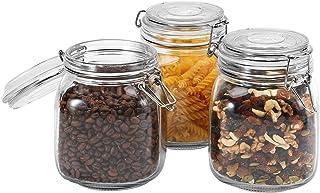 Focus Line Lot de 3 bocaux en verre avec couvercles hermétiques, pour la cuisine, le garde-manger, la farine, les pâtes, l...
