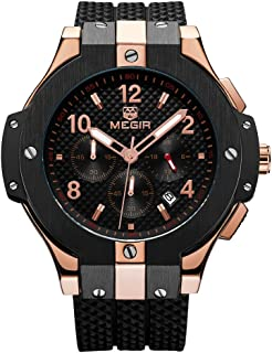 Mens Chronograph Military Quartz Watch with Rose Gold Case Black Silicone Strap Big Dial Date Waterproof