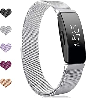 Intoval Metal Mesh Stainless Steel Magnetic Wrist Band Compatible with Fitbit Inspire HR and Fitbit Inspire Fitness Trackers for Men and Women.(Small Silver)