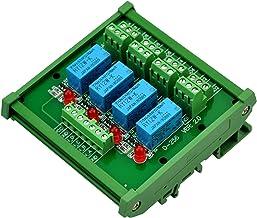 Electronics-Salon DIN Rail Mount 4 DPDT Signal Relay Interface Module, DC 12V Version.