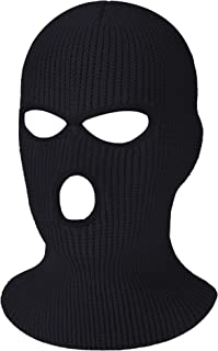 3-Hole Knitted Full Face Cover Ski Mask, Winter Balaclava Warm Knit Full Face Mask for Outdoor Sports