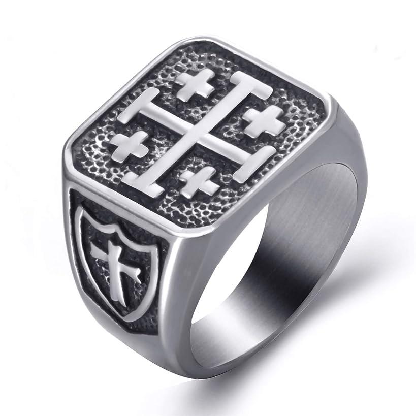 Elfasio Men Stainless Steel Rings Crusader Jerusalem Cross Religion Vintage Jewelry