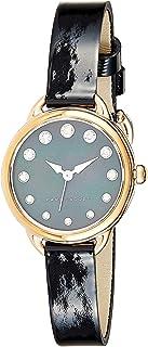ساعة بسوار من الجلد ومينا اسود للنساء من مارك جايكوبز، موديل MJ1513