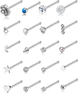 20G 20Pcs Nose Ring CZ Nose Stud Retainer L Bone Screw Shaped Nose Piercing Jewelry Set for Women Men Stainless Steel Silver Tone