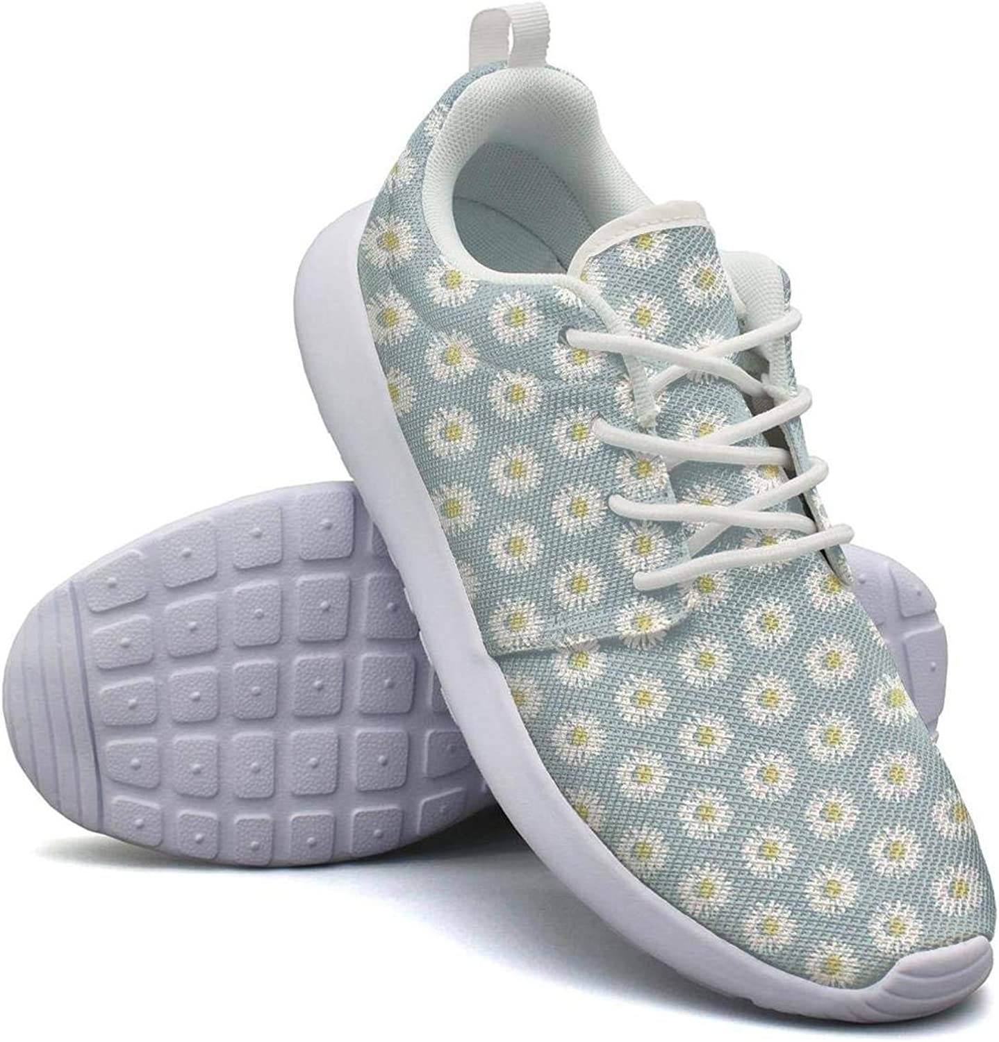 CHALi99 Comfort Female's Lightweight Mesh shoes Daisy Pattern Skybluee Loafers Sport Rubber Sole