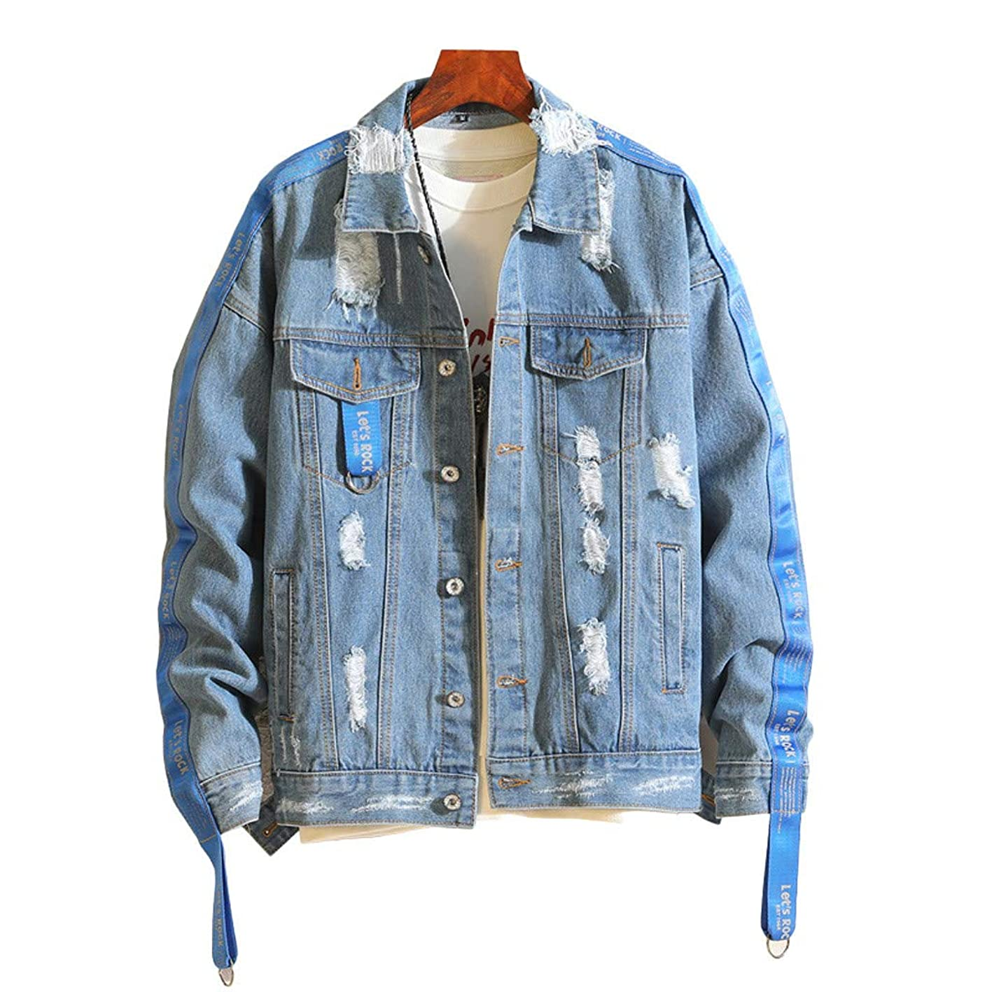 Thin Distressed Denim Jacket Men Autumn Winter Casual Vintage Wash Coat pfjjwyripcg886