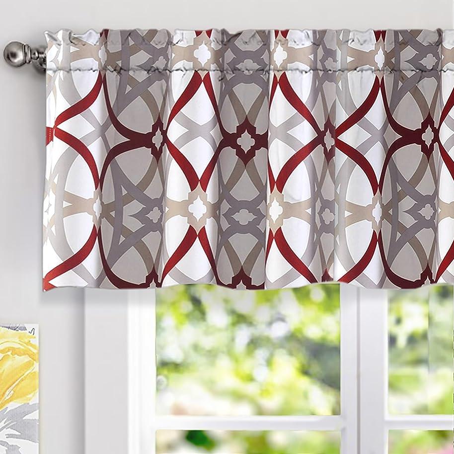 DriftAway Alexander Spiral Geo Trellis Pattern Window Curtain Valance,Rod Pocket, 52