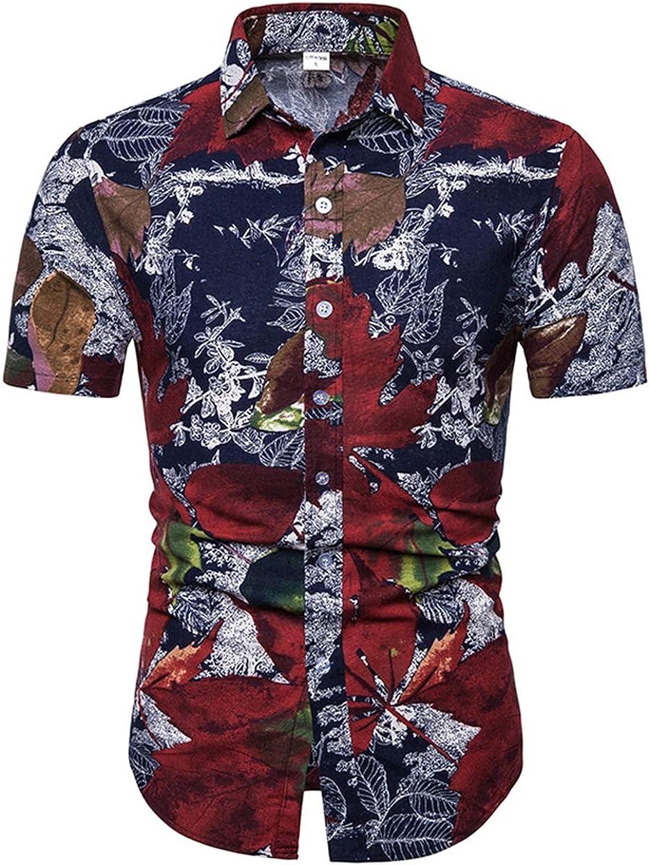 Men's Plus Size Shirt Casual Lapel Slim Leaf Print Short-Sleeved Shirt Shirt Simple Wild