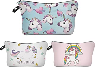Unicorn Makeup Bag,Deanfun 3pcs/set Super Funny 3D Printing women cosmetic bag Multifuncition Pencil Holder (HZBTZ4)