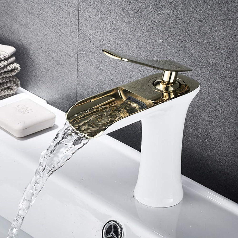 ZTMN Becken Waschbecken Wasserhahn Golden Weiß Chrome Einhand-Wasserfall-Bad-Mischbatterie Deck montiert Wasserhhne, 4