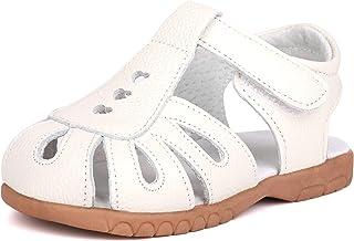 Sponsored Ad - LONSOEN Girl's Genuine Leather Sandals Closed-toe Princess Dress Sandal Shoes