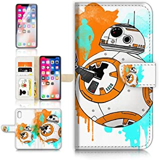 (for iPhone Xs MAX) Flip Wallet Case Cover & Screen Protector Bundle - A9366 Starwars BB8