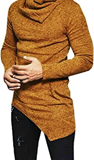 Men Cotton T-Shirts Turtleneck Asymmetric Curved Hem Fit Slim Snowflake Pullover Hoodies