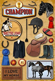 KAREN FOSTER Design Acid and Lignin Free Scrapbooking Sticker Sheet, Equestrian