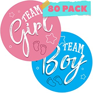 """CORRURE 80pcs Gender Reveal Stickers for Voting Games and Party Supplies - Easy to Stick and Peel-Off - 2.0"""" Team Boy and ..."""