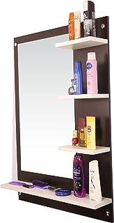 Anikaa Glass Wall Mirror (60 x 13 x 80 cm, Wenge & White)