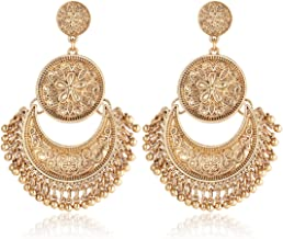 Gmai Antique Ethnic Brocade Mexico Gypsy Engraved Lotus Hook Dangle Earrings for Women and Girls