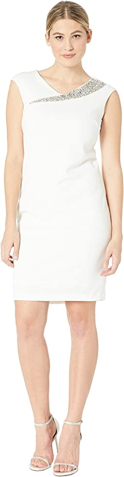 Stretch Crepe Short Slim with Asymmetric Beaded Neck
