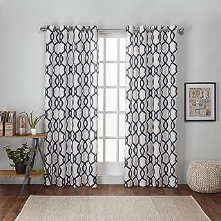 Exclusive Home Curtains Kochi Linen Blend Grommet Top Curtain Panel Pair, 54x96, Indigo, 2 Count
