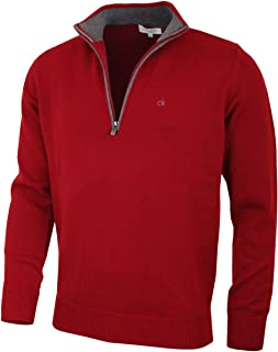 Calvin Klein Mens 2021 Knit Cotton 1/2 Zip Golf CK Top Sweater