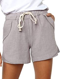 CILKOO Women's Drawstring Elastic Waist Casual Comfy Cotton Linen Beach Shorts(S-XXL) - - Small