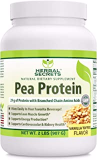 Herbal Secrets Pea Protein Powder Vanilla Toffee Flavor 2 lbs (Non-GMO) -Supports Energy Production and Muscle Growth - Promotes Heart and Kidney Function*