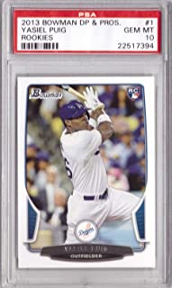 2013 Bowman Draft Baseball #1 Yasiel Puig Rookie Card Graded PSA 10 Gem Mint