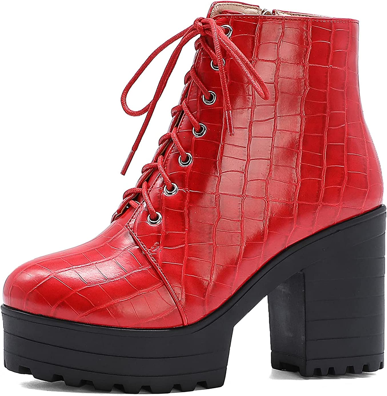 Women's Platform High Heel Ankle Chunky Boots Surprise Large discharge sale price with Zipper L