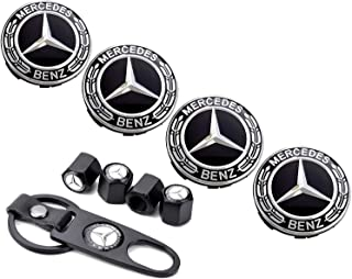 Sparkle-um 9-Piece Set 75mm Mercedes Benz Emblem Badge Wheel Hub Caps Centre Cover +Tire Valve Stem Caps Cover with Mercedes Keychain for Mercedes Benz.(Black Laurel Wreath)