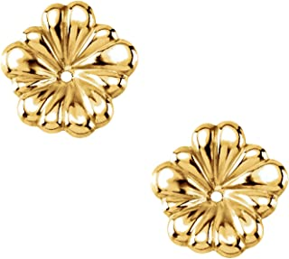 14KT Yellow Gold Small 0.43 Inch Diameter Flower Earring Jackets