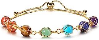 Healing Crystal Stone Chakra Bracelets Adjustable 14K...