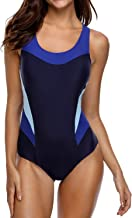 beautyin Women's One Piece Athletic Racerback Bathing Suit Color Block Swimsuit