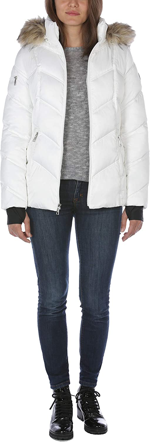 Nautica womens Midweight Puffer Jacket With Faux Fur Trim