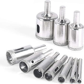 Diamond Drill Bit, 10 pcs Glass Hole Saw Set Extractor Remover Tools for Ceramics, Porcelain, Ceramic Tile 6mm - 30mm