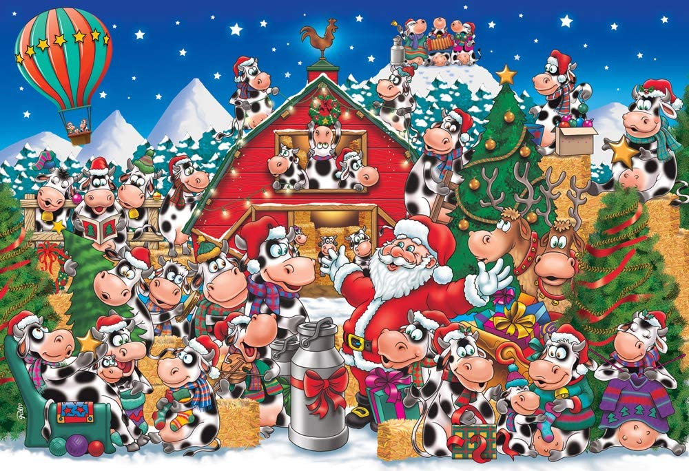 Christmas Party Cows Kid's Piece Jigsaw Financial sales Regular discount sale 100 Puzzle
