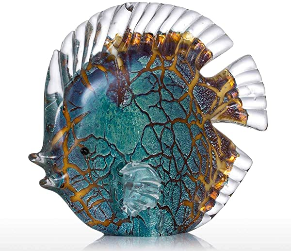 Tooarts Colorful Spotted Tropical Glass Fish Sculpture Home Decoration Ornament