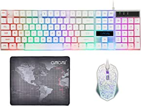 CHONCHOW Gaming Wired Backlit Keyboard Mouse Combo LED Illuminated Letter 19 Anti-Ghost Keys White Opptical Mice Compatible iMac Laptop Computer Smart Tv(1910W)