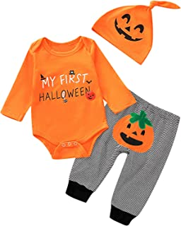 Aslaylme Baby Boys My First Halloween Outfits Newborn Pumpkin Costume Clothes Set