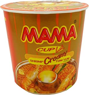 Mama Instant Cup Noodles Creamy Tom Yum Shrimp Flavor Thai Original Spicy Net Wt 42 G (1.48 Oz) X 9 Cups