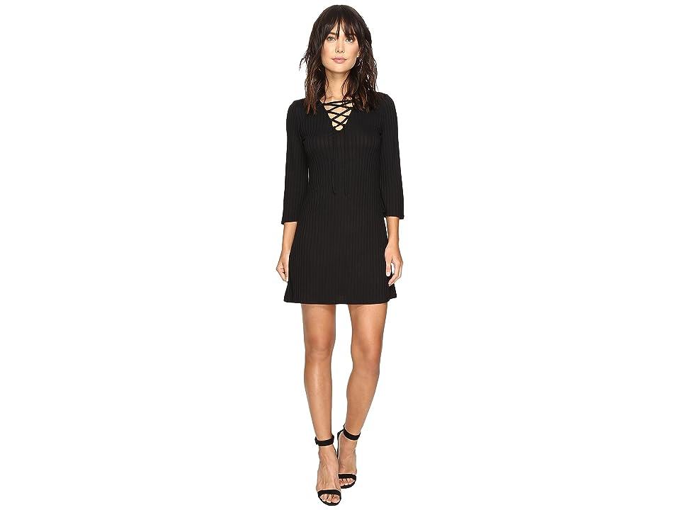 kensie Rib Lace-Up Dress KS2U7007 (Black) Women