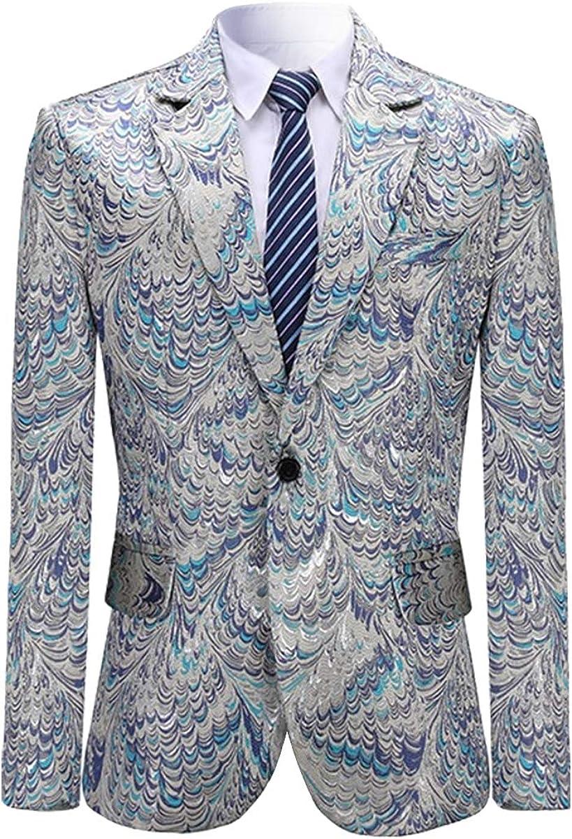Mens Print Tux Dress Suit Jacket Slim Fit Floral Blazer Sport Coat