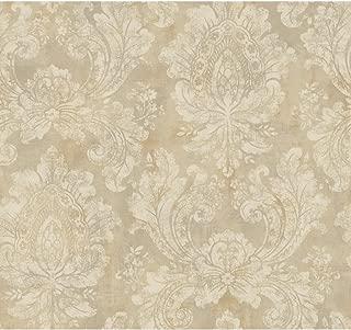 York Wallcoverings EP6174 Traditional Damask Wallpaper, Metallic Gold, Beige, Tan, Palest Purple