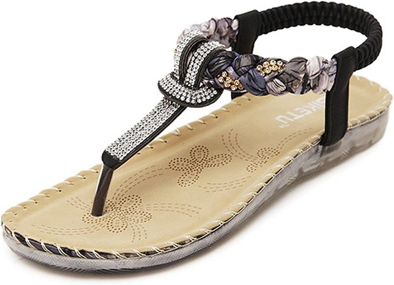 Spearss LightweightWomen's Rhinestone Transparent Floral Rubber Sole Braid Chain Flat Sandals Convenient
