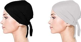 2-Pack Cotton Jersey Chemo Hair Bonnet Head Wraps for Women Tie Back Scarves