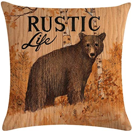 KACOPOL Vintage Background Wildlife Bear Moose Elk Ridge with Quote Words Pillow Covers Cotton Linen Throw Pillow Case Cushion Cover Home Couch Outdoor Decor 18 x 18 (Rustic & Vintage)