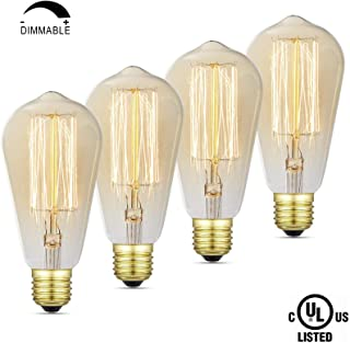 iLumen 110V E26 Base ST64 Dimmable Antique Vintage Squirrel Cage Filament Edison Light Bulb Bombilla Regulable